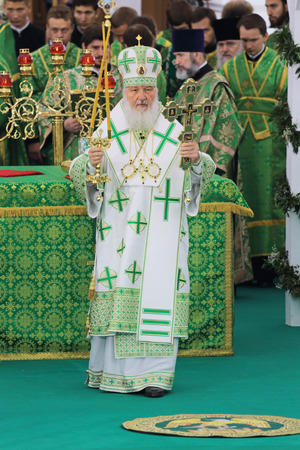 rus: MOSCOW REGION, SERGIYEV POSAD, RUSSIA — JUL 18, 2014: Kirill (Vladimir Mikhailovich Gundyayev), Patriarch of Moscow and all Rus at the ceremony of celebration of the 700th anniversary of the birthday of St. Sergius of Radonezh Editorial
