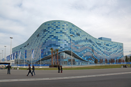 krasnodar region: SOCHI, ADLER, RUSSIA - MAR 08, 2014: Iceberg Skating Palace at Olympic Park in Adlersky District, Krasnodar Krai - venue for the 2014 winter Olympics