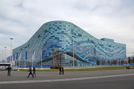 stadia: SOCHI, ADLER, RUSSIA - MAR 08, 2014: Iceberg Skating Palace at Olympic Park in Adlersky District, Krasnodar Krai - venue for the 2014 winter Olympics