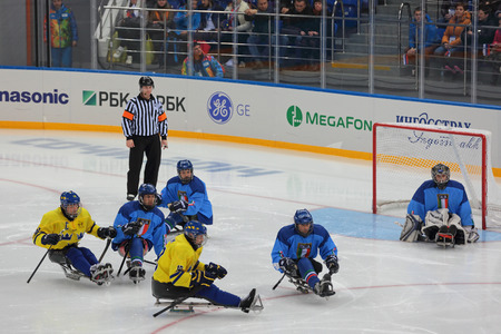 arbiter: SOCHI, RUSSIA - MAR 12, 2014: Paralympic winter games in ice Arena Shayba. The sledge hockey, match Italy-Sweden. The teams in hockey gate