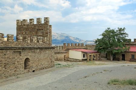 sudak: SUDAK, REPUBLIC OF CRIMEA, RUSSIA - AUG 07, 2014: The ruins of the medieval Genoese fortress in Sugdeya city (currently - Sudak)