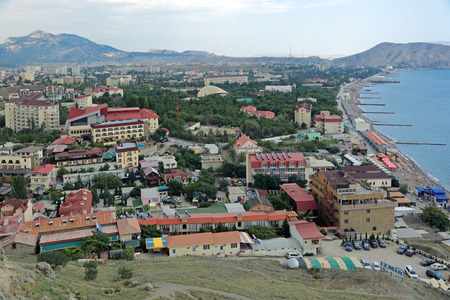 SUDAK, REPUBLIC OF CRIMEA, RUSSIA - AUG 07, 2014: Views of Sudak Bay from the Genoese fortress, summer landscape