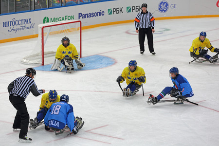 paralympic: SOCHI, RUSSIA - MAR 12, 2014: Paralympic winter games in ice Arena Shayba. The sledge hockey, match Italy-Sweden. The teams in hockey gate