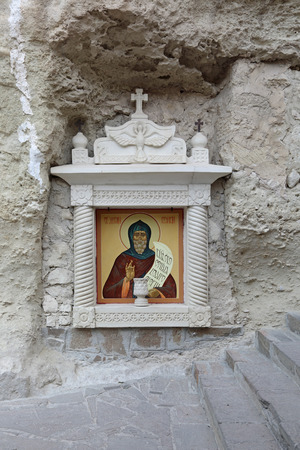 assumption: The icon of St. Anthony the Great in male Assumption Monastery of the Caves in Bakhchisaray city, Republic of Crimea, Russia Stock Photo