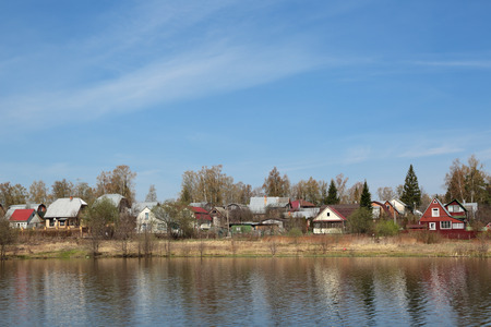 dacha: Russia, Moscow region, dacha plots on the Bank of the river