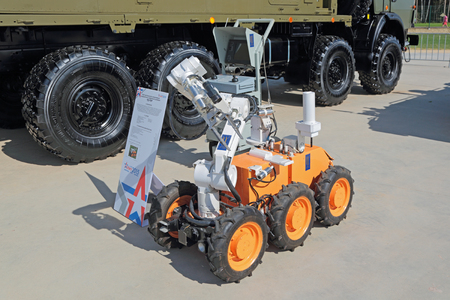 radiative: KUBINKA, MOSCOW OBLAST, RUSSIA - JUN 19, 2015: Wheel robot radiation and chemical reconnaissance at the International military-technical forum ARMY-2015 in military-Patriotic park