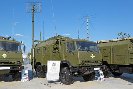 KUBINKA, MOSCOW OBLAST, RUSSIA - JUN 18, 2015: International military-technical forum ARMY-2015 in military-Patriotic park. The automated command post vehicle R-142DA-E to provide communication and control based on the KAMAZ truck Stok Fotoğraf - 50977054