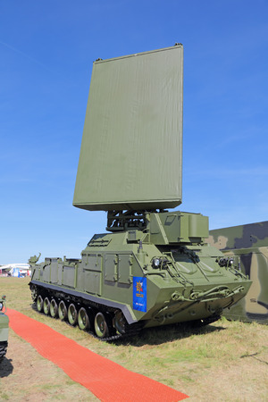 ranging: ZHUKOVSKY, MOSCOW REGION, RUSSIA - AUG 24, 2015: Self-propelled radar system 1L260-E for intelligence positions rockets and artillery at the International Aviation and Space salon MAKS-2015