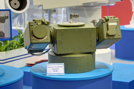 monitoring system: KUBINKA, MOSCOW OBLAST, RUSSIA - JUN 17, 2015: The optical-electronic system for monitoring the area in day and night conditions at the International military-technical forum ARMY-2015 in military-Patriotic park Editorial