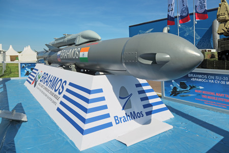 ZHUKOVSKY, MOSCOW REGION, RUSSIA - AUG 24, 2015: Supersonic shipwreck missile Brahmos at the International Aviation and Space salon MAKS-2015 Editöryel