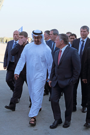 king hussein: ZHUKOVSKY, MOSCOW REGION, RUSSIA - AUG 25, 2015: The crown Prince of Abu Dhabi Mohammed al Nahyan and King of Jordan Abdullah II al-Hussein at the International Aviation and Space salon MAKS-2015 Editorial