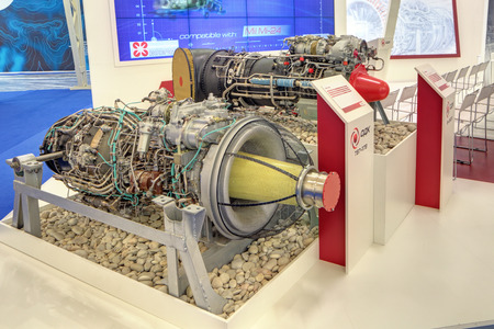 experimental: KUBINKA, MOSCOW OBLAST, RUSSIA - JUN 16, 2015: The turboshaft engines for helicopters, production Klimov Experimental Design Bureau at the International military-technical forum ARMY-2015 in military-Patriotic park