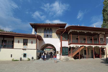 north gate: BAKHCHISARAY, REPUBLIC CRIMEA, RUSSIA - AUG 12, 2014: The interior of the Bakhchisaray Palace (Hansaray) the residence of the Crimean khans XVI century. The main entrance of the North gate