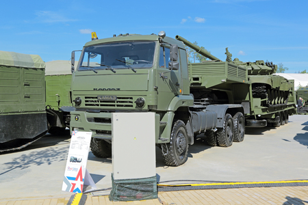 flatcar: KUBINKA, MOSCOW OBLAST, RUSSIA - JUN 18, 2015: International military-technical forum ARMY-2015 in military-Patriotic park. Truck tractor KamAZ-65225-22, produced at the Kama Automobile Plant
