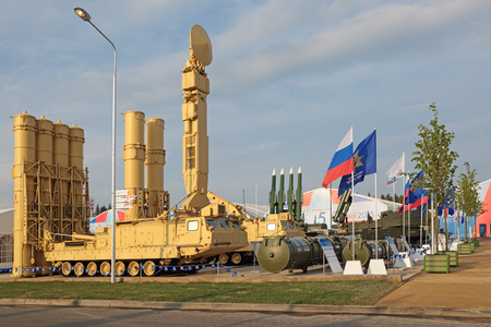 KUBINKA, MOSCOW OBLAST, RUSSIA - JUN 15, 2015: The S-300VM Antey-2500 (SA-23 GladiatorGiant) is a Russian air defense system with anti ballistic missiles of short and medium range at the International military-technical forum ARMY-2015 in military-Patr