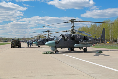 may fly: KUBINKA, MOSCOW REGION, RUSSIA - MAY 05, 2015: The Ka-52 Alligator - Russian combat helicopter - commanders car army aviation and marine corps preparing to fly over Moscow in rehearsal 70 anniversary of the Victory Parade in WWII Editorial