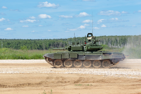 MILITARY GROUND ALABINO, MOSCOW OBLAST, RUSSIA - JUN 18, 2015: The T-72  is a Soviet second-generation main battle tank at the International military-technical forum ARMY-2015