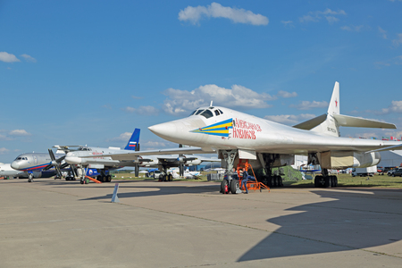 supersonic: ZHUKOVSKY, RUSSIA - AUG 23, 2015: Tupolev Tu-160 (White swan) a supersonic, variable-sweep wing heavy strategic bomber and missile platform at the International Aviation and Space salon MAKS-2015