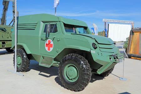 armoured: KUBINKA, MOSCOW OBLAST, RUSSIA - JUN 18, 2015: International military-technical forum ARMY-2015 in military-Patriotic park. The UAMZ 4903 Toros - armoured ambulance Editorial