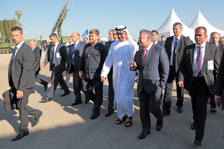 the statesman: ZHUKOVSKY, MOSCOW REGION, RUSSIA - AUG 25, 2015: The President of the Chechen Republic Ramzan Kadyrov, crown Prince of Abu Dhabi Mohammed al Nahyan and King of Jordan Abdullah II al-Hussein at the International Aviation and Space salon MAKS-2015