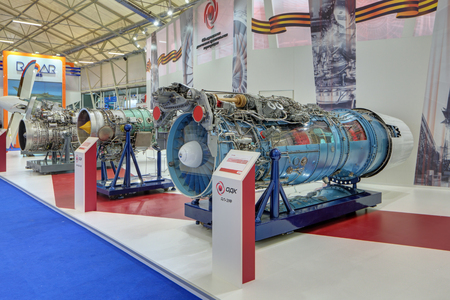 aeroengine: KUBINKA, MOSCOW OBLAST, RUSSIA - JUN 16, 2015: The turbojet engine production United engine Corporation at the International military-technical forum ARMY-2015 in military-Patriotic park