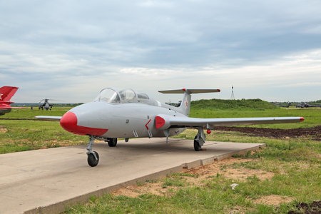 czechoslovak: KUBINKA, MOSCOW OBLAST, RUSSIA - JUN 19, 2015: The Aero L-29 Delfín (Dolphin) is a military jet trainer aircraft at the International military-technical forum ARMY-2015 at the Kubinka air base