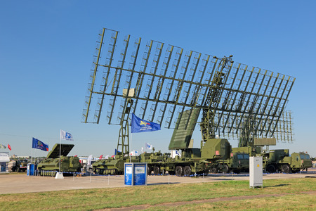 ranging: ZHUKOVSKY, MOSCOW REGION, RUSSIA - AUG 25, 2015: Self-propelled radar systems at the International Aviation and Space salon MAKS-2015