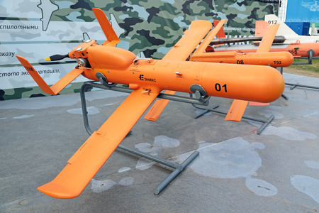 international monitoring: ZHUKOVSKY, MOSCOW REGION, RUSSIA - AUG 30, 2015: Unmanned aerial vehicles Kazan company ENICS CJSC at the International Aviation and Space salon MAKS-2015