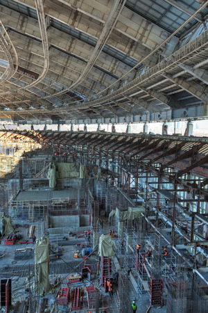 site preparation: MOSCOW, RUSSIA - FEB 10, 2015: Preparation 2018 FIFA World Cup, reconstruction Luzhniki Stadium