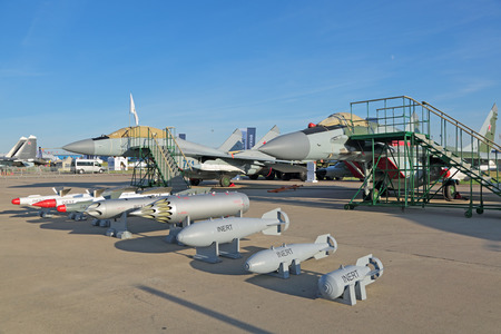 armament: ZHUKOVSKY, RUSSIA - AUG 24, 2015: The samples of aircraft bombs and missile armament for aviation at the International Aviation and Space salon MAKS-2015 Editorial