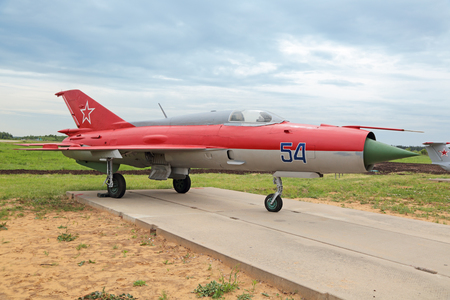 supersonic: KUBINKA, MOSCOW OBLAST, RUSSIA - JUN 19, 2015: The Mikoyan-Gurevich MiG-21 (NATO reporting name: Fishbed) is a retro supersonic jet fighter aircraft at the International military-technical forum ARMY-2015 at the Kubinka air base