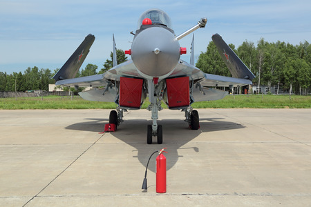 supersonic: KUBINKA, MOSCOW OBLAST, RUSSIA - JUN 19, 2015: The Mikoyan-Gurevich MiG-29K (NATO reporting name: Fulcrum-D) is a Russian all-weather carrier-based multirole supersonic fighter aircraft at the International military-technical forum ARMY-2015 at the Kubink Editorial