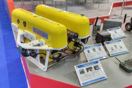 exploratory: KUBINKA, MOSCOW OBLAST, RUSSIA - JUN 16, 2015: Remote-controlled unmanned underwater vehicle at the International military-technical forum ARMY-2015 in military-Patriotic park