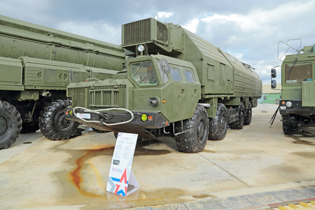 to ensure: KUBINKA, MOSCOW OBLAST, RUSSIA - JUN 16, 2015: Truck to ensure alerting of strategic missile complex Topol (SS-25 Sickle) at the International military-technical forum ARMY-2015 in military-Patriotic park
