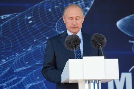 oration: ZHUKOVSKY, MOSCOW REGION, RUSSIA - AUG 25, 2015: The President of the Russian Federation Vladimir Putin with his eyes closed at the opening ceremony of the International Aviation and Space salon MAKS-2015 Editorial