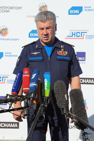colonel: ZHUKOVSKY, MOSCOW REGION, RUSSIA - AUG 25, 2015: Viktor Nikolaevich Bondarev - Colonel General, Commander-in-Chief of the Russian Air Force at the International Aviation and Space salon MAKS-2015