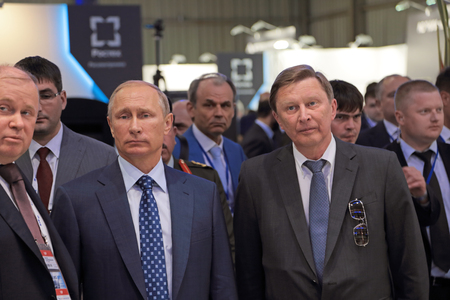 ZHUKOVSKY, MOSCOW REGION, RUSSIA - AUG 25, 2015: The President of the Russian Federation Vladimir Putin and Chief of Staff Presidential Administration of Russia Sergei Ivanov at the International Aviation and Space salon MAKS-2015 Stock Photo - 50975779