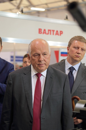 the chairman: KUBINKA, MOSCOW OBLAST, RUSSIA - JUN 16, 2015: The Sergey Chemezov is CEO of Rostec Corporation (formerly the Director General of Rosoboronexport), chairman of the Union of Russian Mechanical Engineers at the International military-technical forum ARMY-20