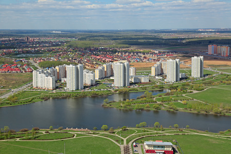 gated: MOSCOW, RUSSIA - MAY 05, 2015: Moscow cityscape, South-Western Administrative Okrug. Top view of the Yuzhnoye Butovo District is located outside the Moscow ring road