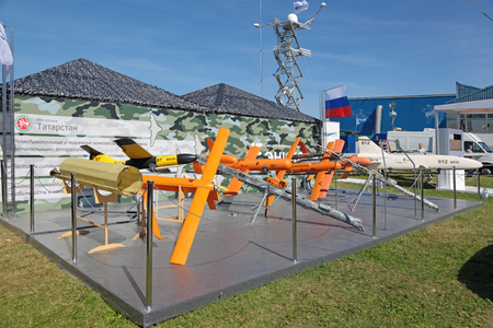 international monitoring: ZHUKOVSKY, MOSCOW REGION, RUSSIA - AUG 24, 2015: Unmanned aerial vehicles Kazan company ENICS CJSC at the International Aviation and Space salon MAKS-2015