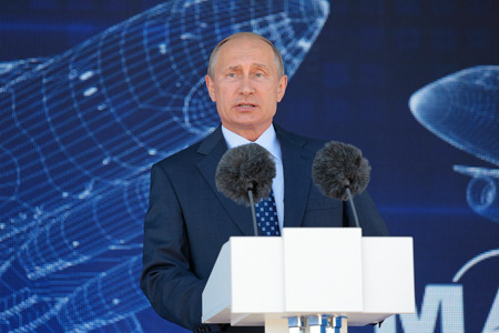 oration: ZHUKOVSKY, MOSCOW REGION, RUSSIA - AUG 25, 2015: The President of the Russian Federation Vladimir Vladimirovich Putin at the opening ceremony of the International Aviation and Space salon MAKS-2015 Editorial