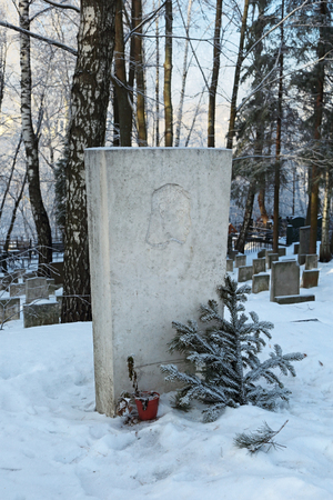 boris: MOSCOW, RUSSIA, JAN 22, 2015: Boris Pasternak Russian writer, one of the greatest poets of the XX century, Nobel prize for literature (1958). The grave at the cemetery in Peredelkino.