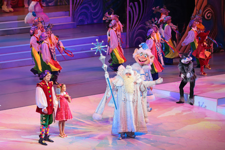 children's show: MOSCOW, RUSSIA - DEC 27, 2014: Childrens Christmas show in State Kremlin Palace in Moscow Kremlin. The actors on the stage
