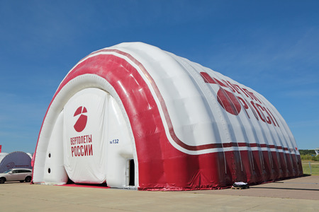 ZHUKOVSKY, MOSCOW REGION, RUSSIA - AUG 24, 2015: Inflatable hangar for the helicopters at the International Aviation and Space salon MAKS-2015