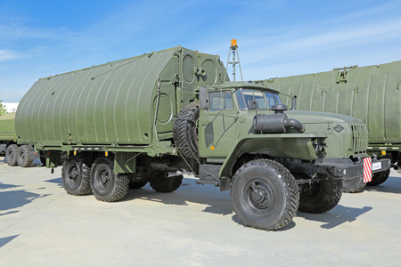 propelled: KUBINKA, MOSCOW OBLAST, RUSSIA - JUN 19, 2015: International military-technical forum ARMY-2015 in military-Patriotic park.  Pontoon-bridge park PMP (PMP-M) on the basis of the Ural-4320 truck