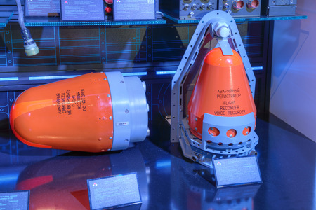 radio unit: ZHUKOVSKY, MOSCOW REGION, RUSSIA - AUG 30, 2015: Flight recorder production company KRET (Concern Radio-Electronic Technologies) at the International Aviation and Space salon MAKS-2015