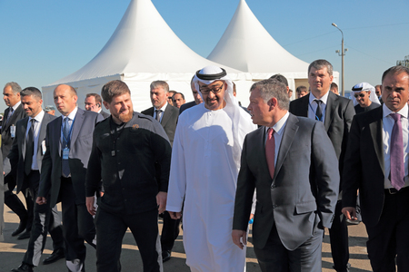 ZHUKOVSKY, MOSCOW REGION, RUSSIA - AUG 25, 2015: The President of the Chechen Republic Ramzan Kadyrov, crown Prince of Abu Dhabi Mohammed al Nahyan and King of Jordan Abdullah II al-Hussein at the International Aviation and Space salon MAKS-2015