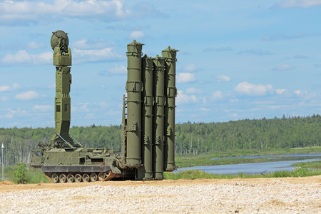 weaponry: MILITARY GROUND ALABINO, MOSCOW OBLAST, RUSSIA - JUN 18, 2015: Canoniac launcher air defense S-300 (NATO reporting name SA-10 Grumble) at the International military-technical forum ARMY-2015