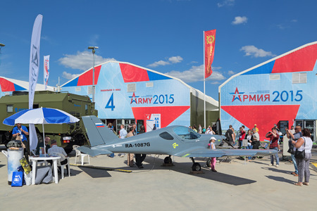 airplane ultralight: KUBINKA, MOSCOW REGION, RUSSIA - JUN 18, 2015: The Roko Aero NG4 UL is a single-engined sport aircraft developed from CZAW SportCruiser (Czech Republic) at the International military-technical forum ARMY-2015 in military-Patriotic park