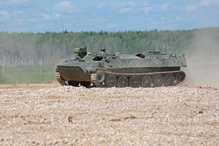 self testing: MILITARY GROUND ALABINO, MOSCOW OBLAST, RUSSIA - JUN 18, 2015: The MT-LB is a Soviet multi-purpose fully amphibious auxiliary armoured tracked vehicle at the International military-technical forum ARMY-2015